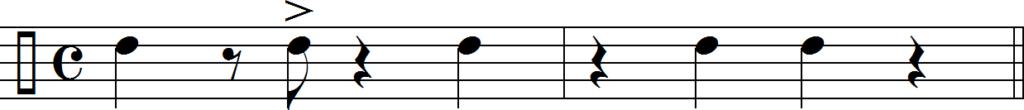 Акцент «бомбо» в такте «3» клаве