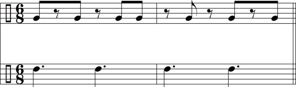 Клаве в размере 6/8 и пульсация