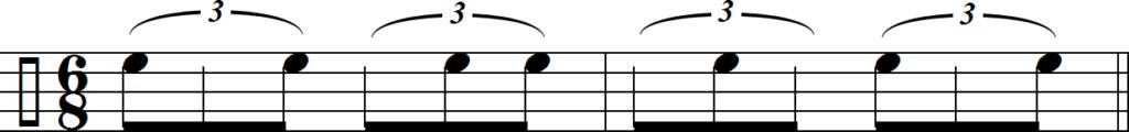 Клаве 6/8, записанный триолями