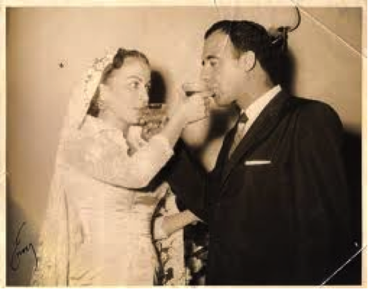 On his wedding with Nydia Vázquez (1948).