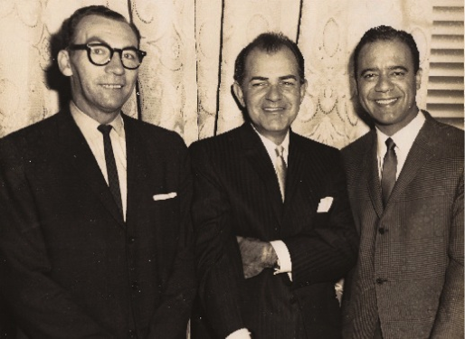 Bobby Capó (right) at Victor's Café (Columbus and 71 Street in Manhattan) with (from left) community leader and organizer Gilberto Gerena Valentín and labor organizer Alberto Sarmiento (circa 1960).
