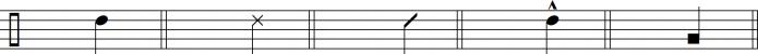 Нотация конг: O - открытый тон; S - Слэп; H/T - Запястье-ладонь; M - приглушенный; B - басовый тон