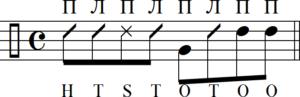 Открытый тон на счет «три» на тумбе, и затем восьмые ноты в четвертой доле на конге
