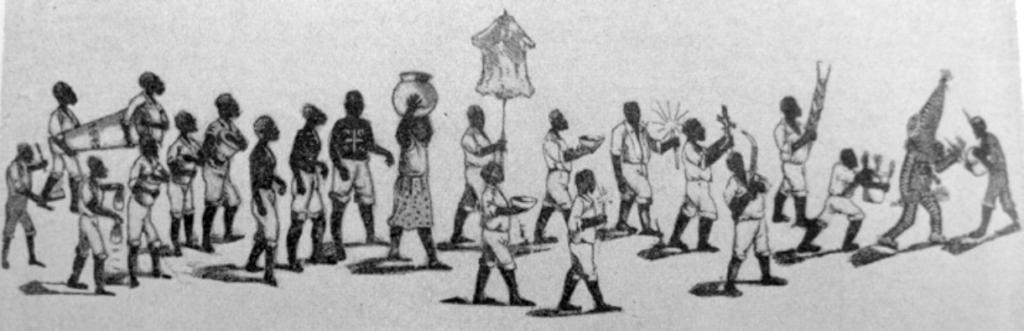 Процессия Абакуа со знаменем bakarióngo, символизирующим одеяния принцессы Сикан. Опубликована Фернандо Ортисом (1954).